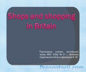 Shops and shopping in Britain